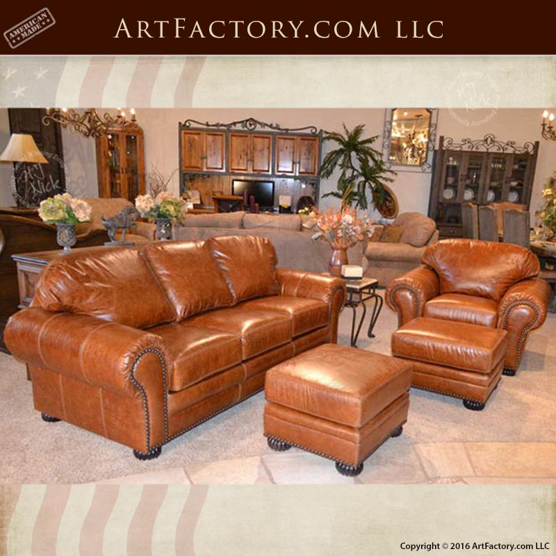 Handmade Leather Sofa: Traditional Custom Leather Sofa And Chair Set