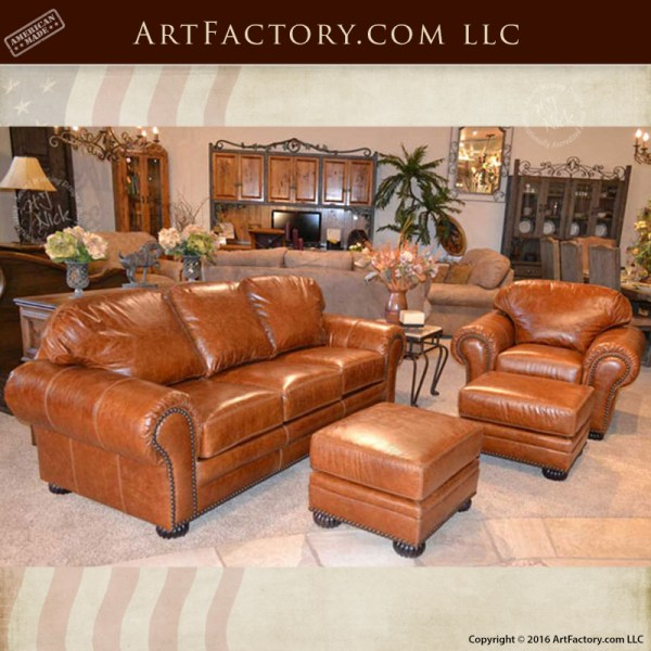Traditional Custom Leather Sofa and Chair Set