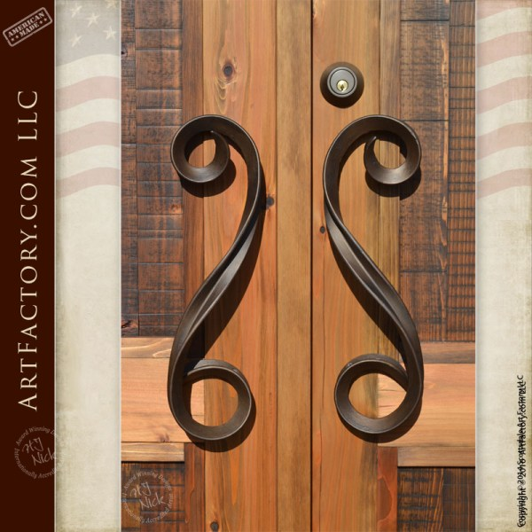 Contemporary fine art door handles hand forged by master - Wrought iron exterior door hardware ...