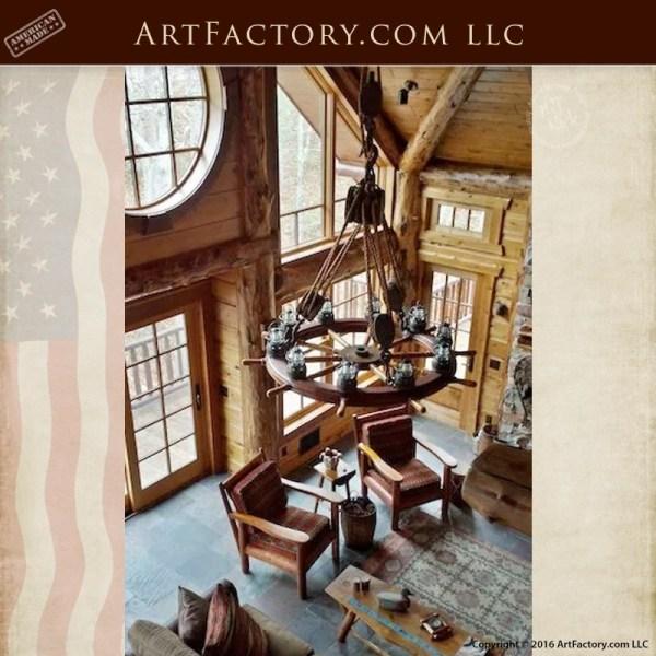 Nautical Antique Ships Wheel Chandelier Custom Lighting