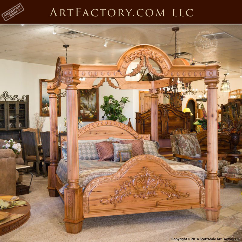 Hand Carved Bed: Custom Hand Carved Canopy Bed: Fine Art Designs By H.J. Nick