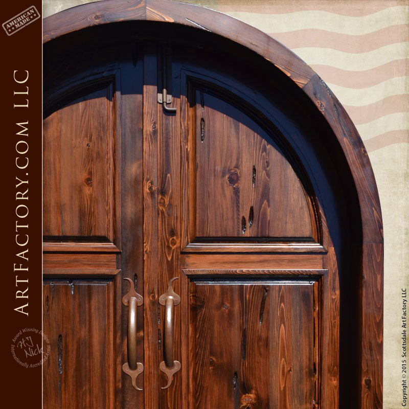 Designer Door Knockers Solid Wood Arched Double Doors: Handcrafted In The Usa