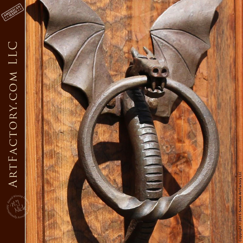 Hand Forged Dragon Door Knocker With Twisted Ring Pull