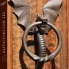 hand forged dragon door knocker
