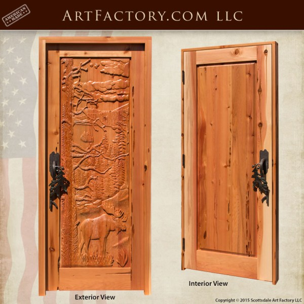 moose hand carved front door