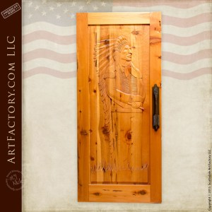 Chief Joseph hand carved door