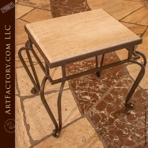 thick travertine top end table