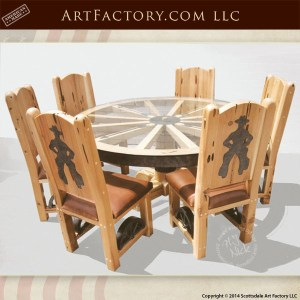 wagon wheel cowboy dining set