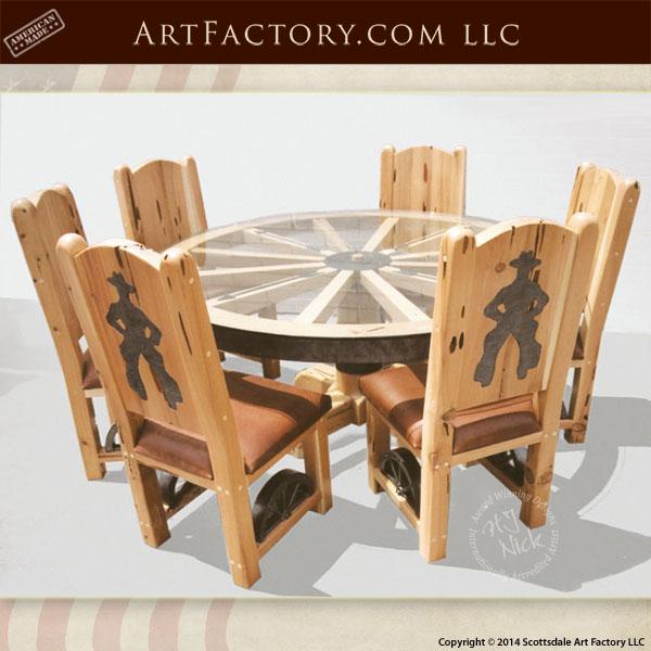 wagon wheel cowboy dining set