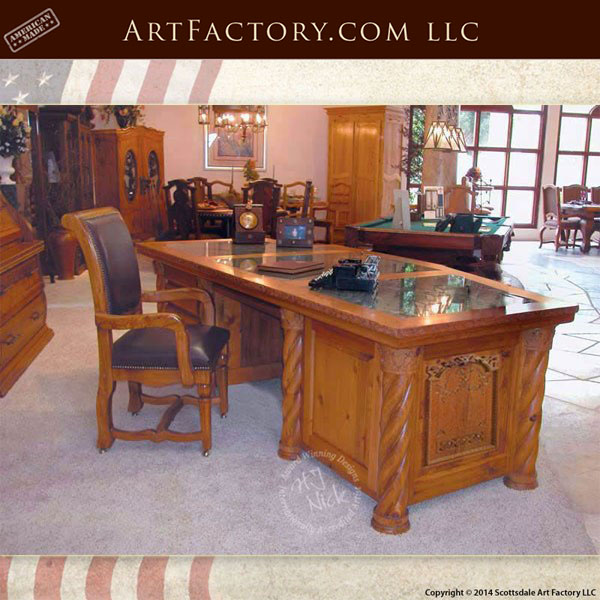 Presidential Oval Office Desk Hand Carved Solid Wood