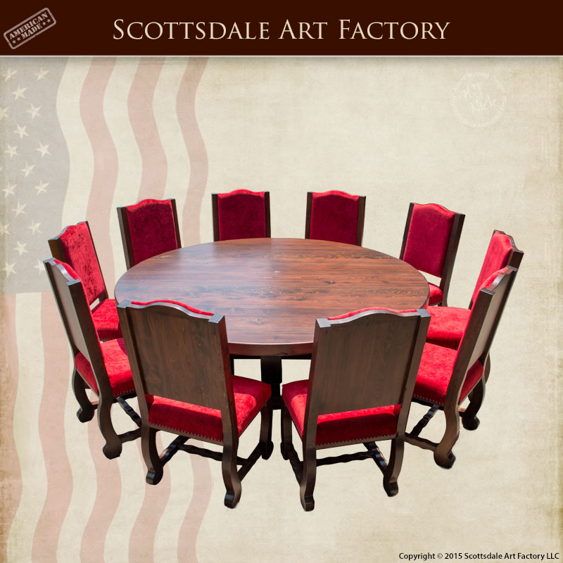 Dining Table Round with Matching High Back Chairs