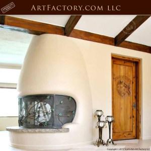 custom ivy design fire place screen
