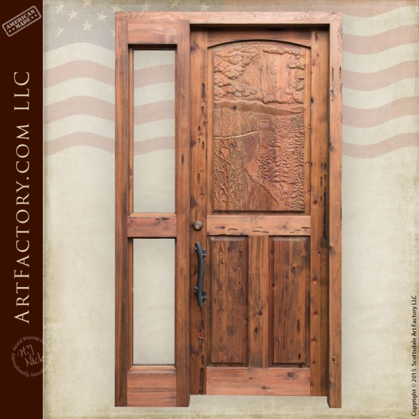 river scene hand carved door with custom pine branch door handle