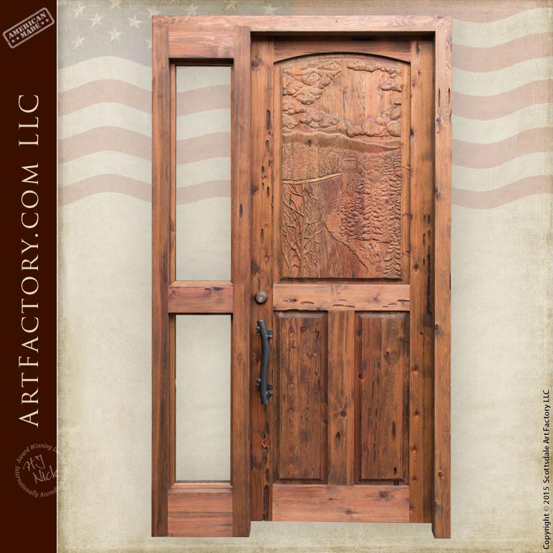 river scene hand carved door with custom pine branch door handle