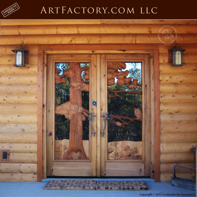 Log Cabin Entrance Doors: Fine Art Quality Master Hand Carved