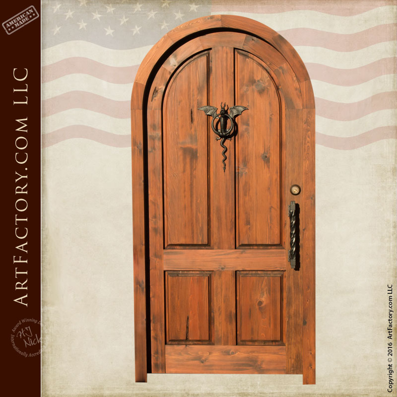 ... Arched Entry Door With Iron Dragon Knocker