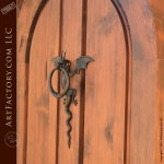 Arched Entry Door With Iron Dragon Knocker