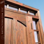 wood door with arched panels
