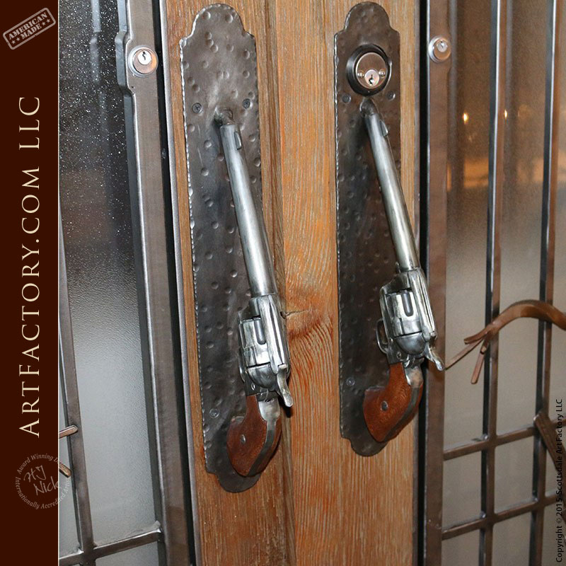 Western Style French Doors With Custom Hand Forged Hardware