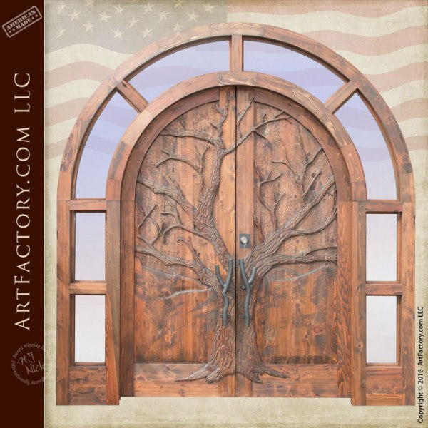 Hand Carved Grand Entrance Door Arched Full Glass