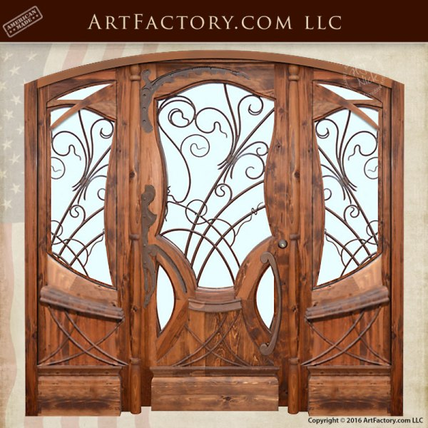 Jules Lavirotte inspired hand carved wood doors