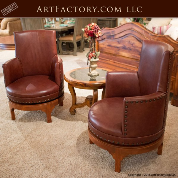 custom leather swivel chair