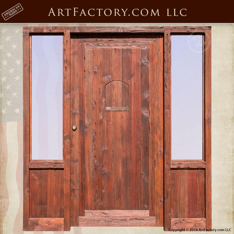 raised grain wood cabin entrance door