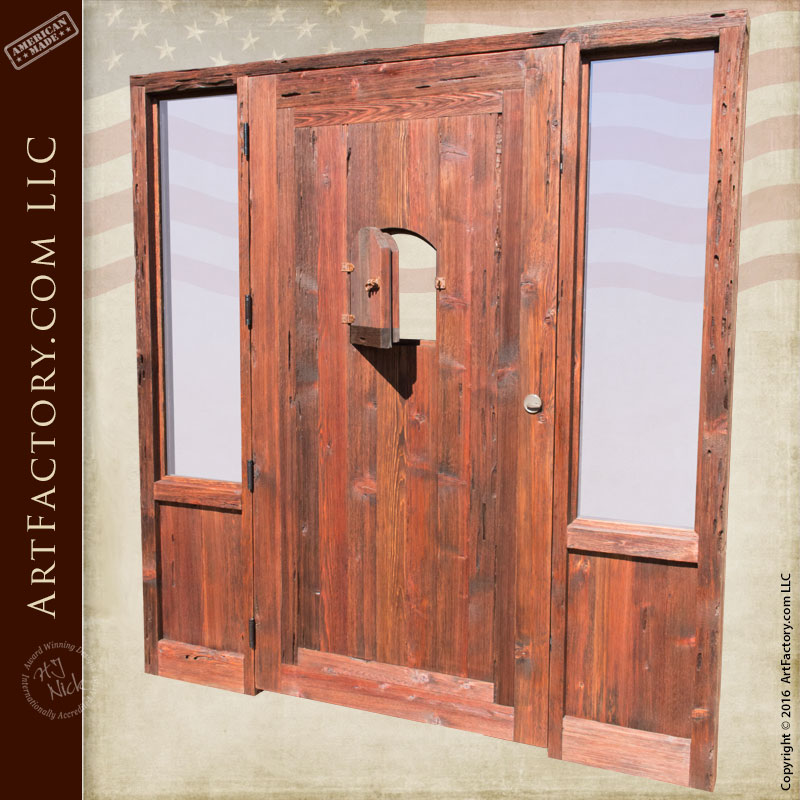 Raised Grain Wood Cabin Entrance Door With Custom Sidelights