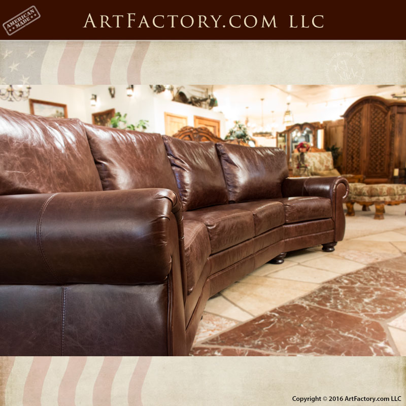 Sofas Chairs: Curved Four Cushion Full Grain Leather Sofa