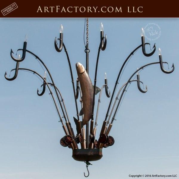 fishing theme chandelier, custom lighting, theme lighting