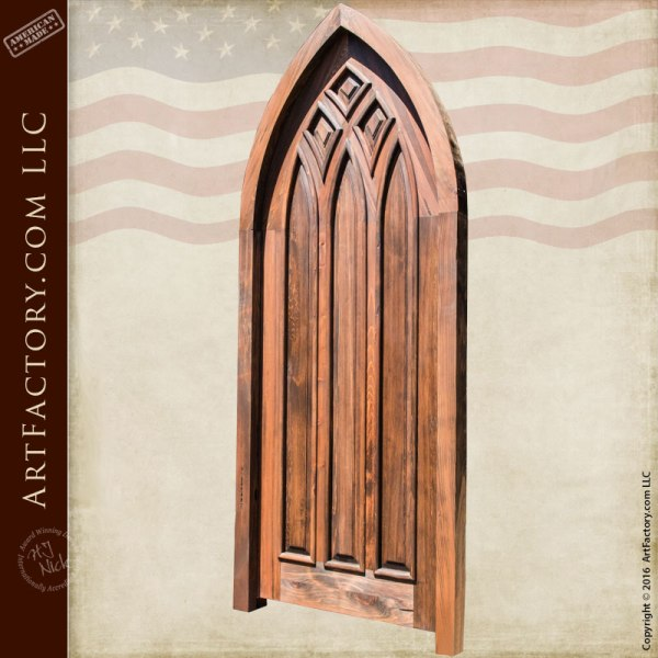 Gothic Style Cathedral Arched Door Handcrafted Solid Wood
