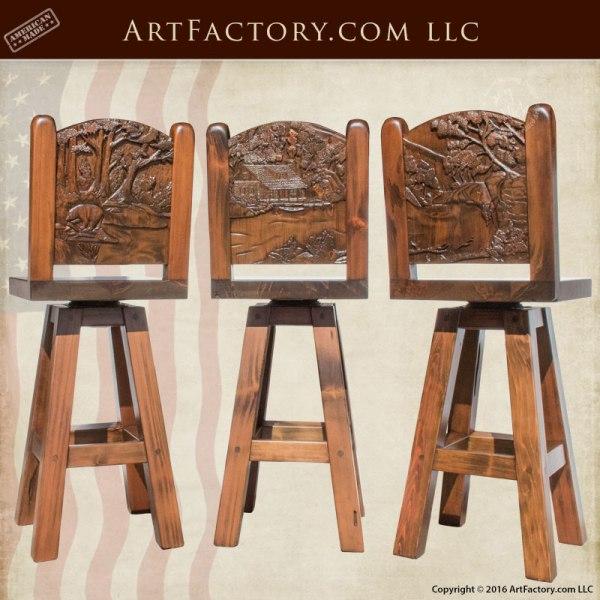 Custom Wood Bar Stools Hand Carved Nature Scene