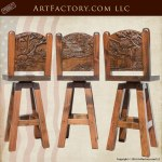hand carved wood bar stools