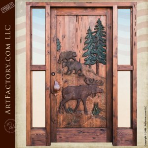 Custom Hand Carved Wildlife Door