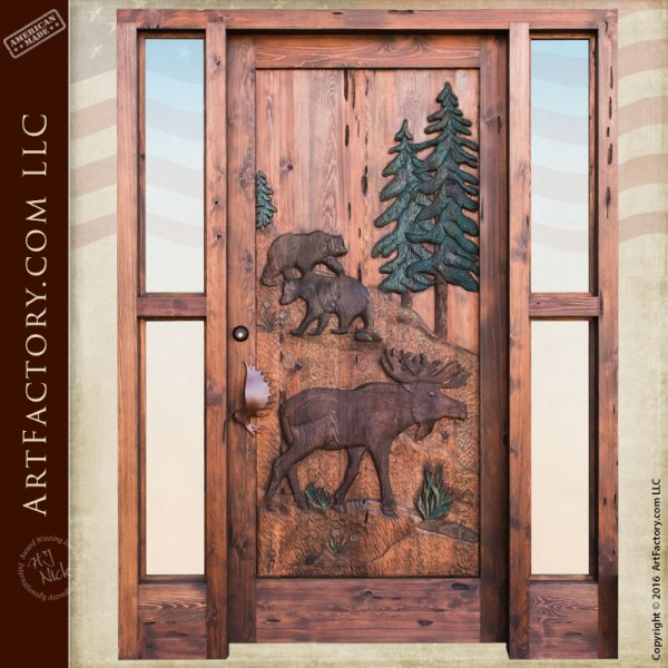 Custom Hand Carved Wildlife Doors Moose And Bear Lodge Door W Sidelights
