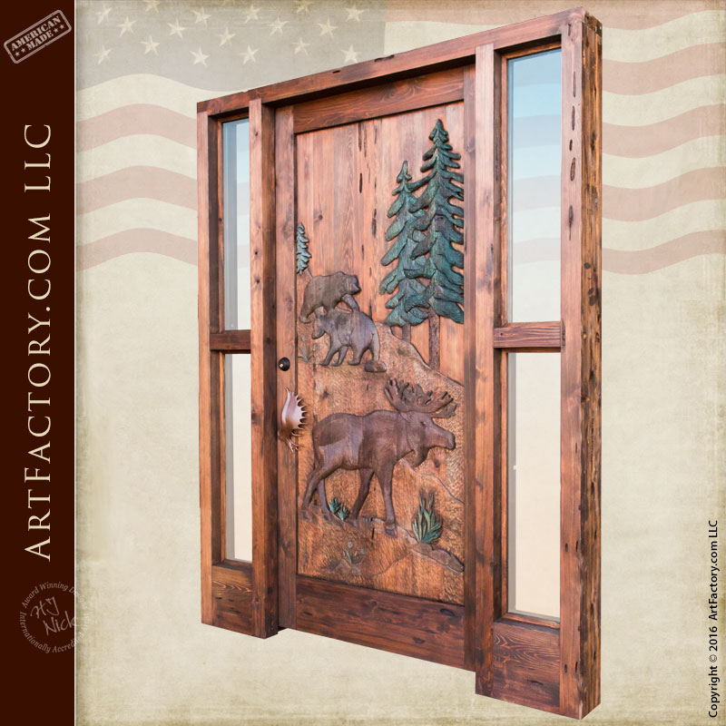 Custom Hand Carved Wildlife Doors  Moose and Bear Lodge