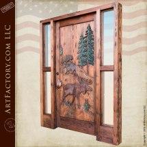 Custom Hand Carved Wildlife Doors - Moose And Bear Lodge