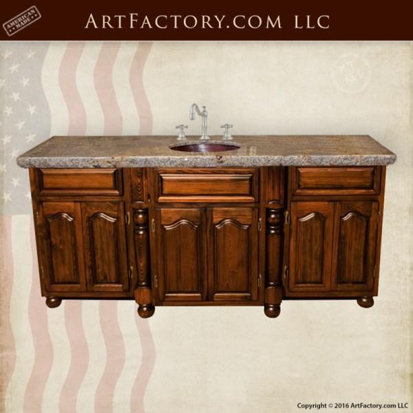 solid wood bathroom vanity handmade cabinets hand chiseled granite. Black Bedroom Furniture Sets. Home Design Ideas