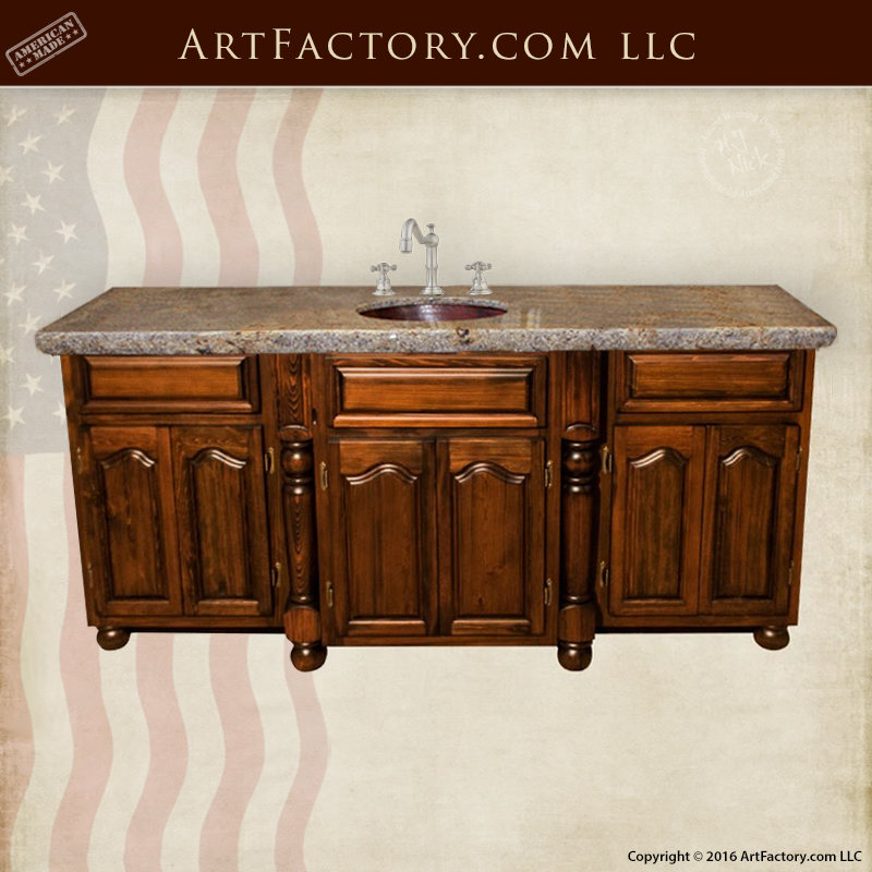Solid Wood Bathroom Vanity U2013 Handmade Cabinets U2013 Hand Chiseled Granite U2013  BAC9500