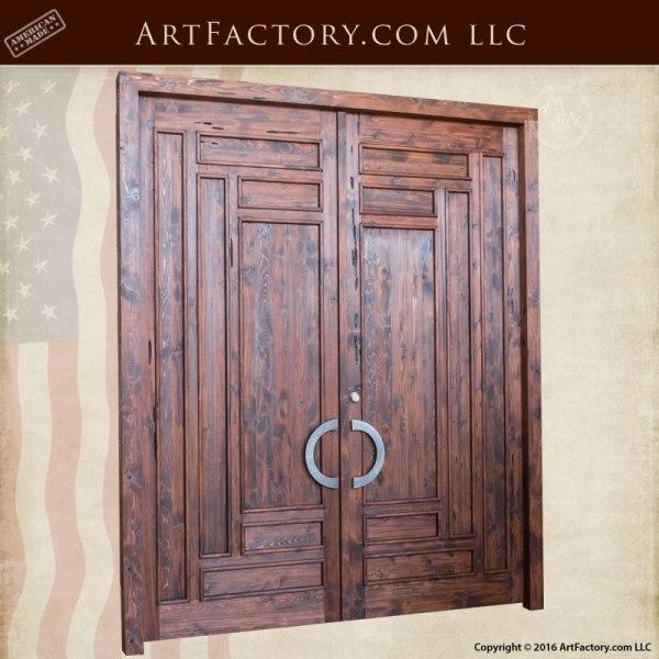 Slim Panel Craftsman Door Solid Wood Iron Hardware