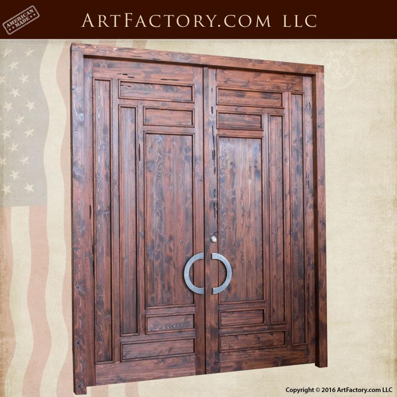 Slim Panel Craftsman Exterior Door Solid Wood Iron Hardware