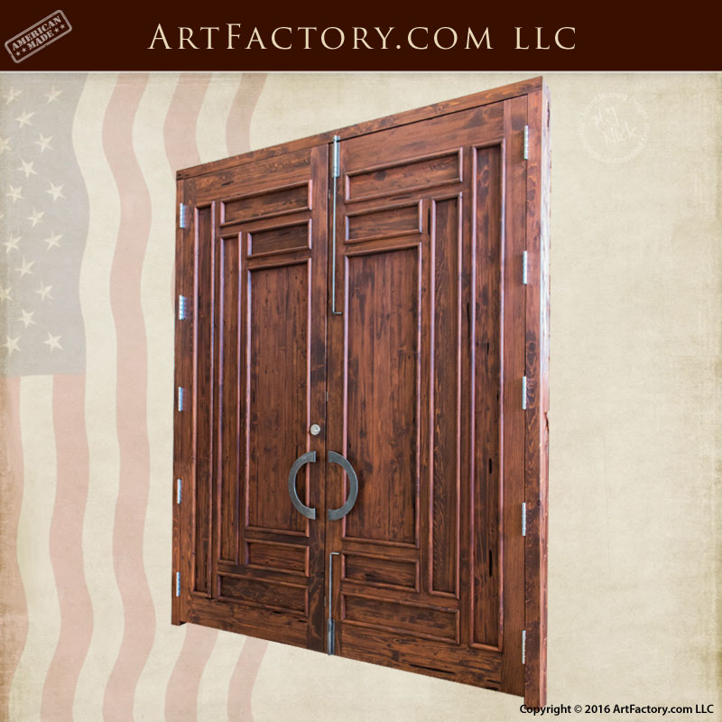 Solid wood exterior door craftsman custom wooden door for Wooden front doors fitted