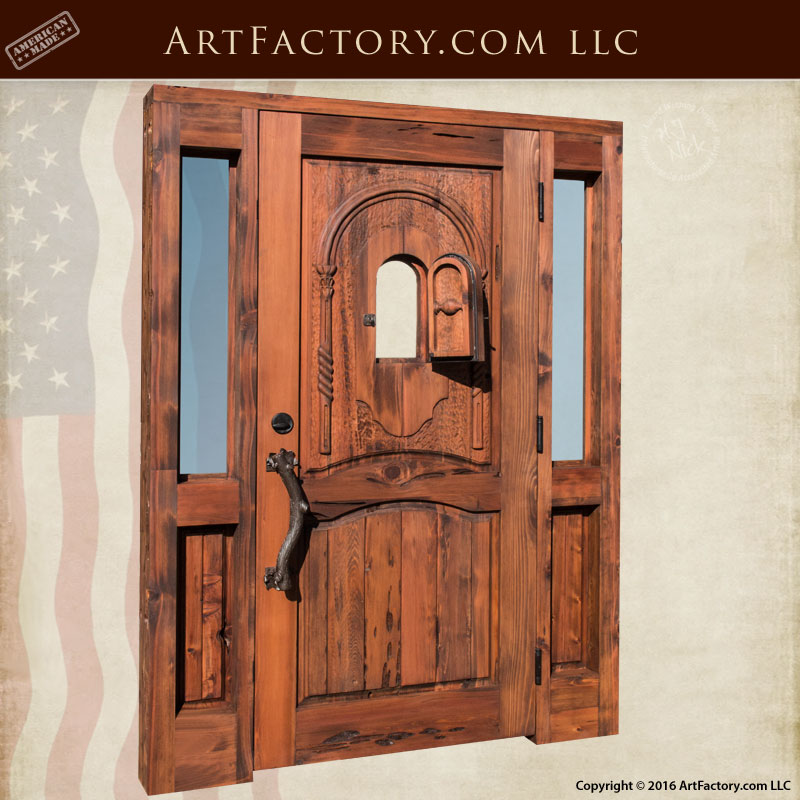 Custom Log Cabin Door Rustic Solid Wood Entrance With