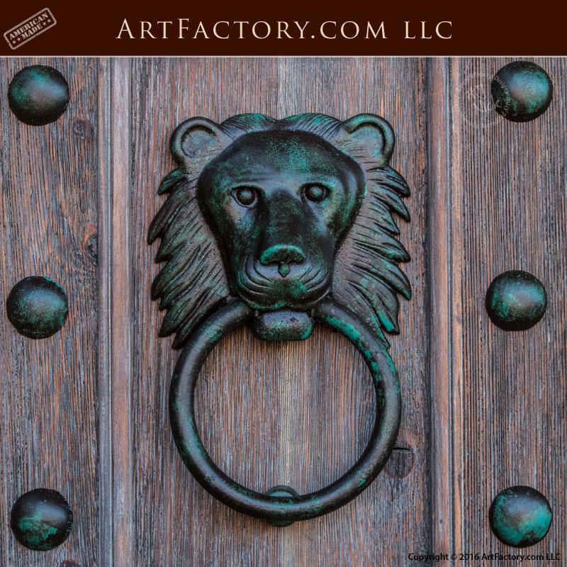Door hardware custom iron lion door knocker scottsdale for Custom made door knockers