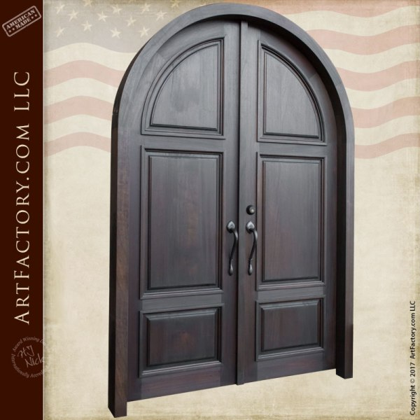 Arched European Villa Double Doors Custom Solid Wooden Doors
