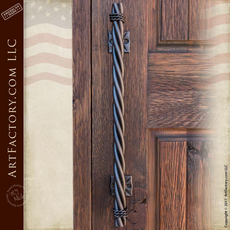 Long Twist Door Pull: Custom Hand Forged Door Hardware U2013 HH285