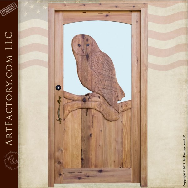 owl theme carved wood door