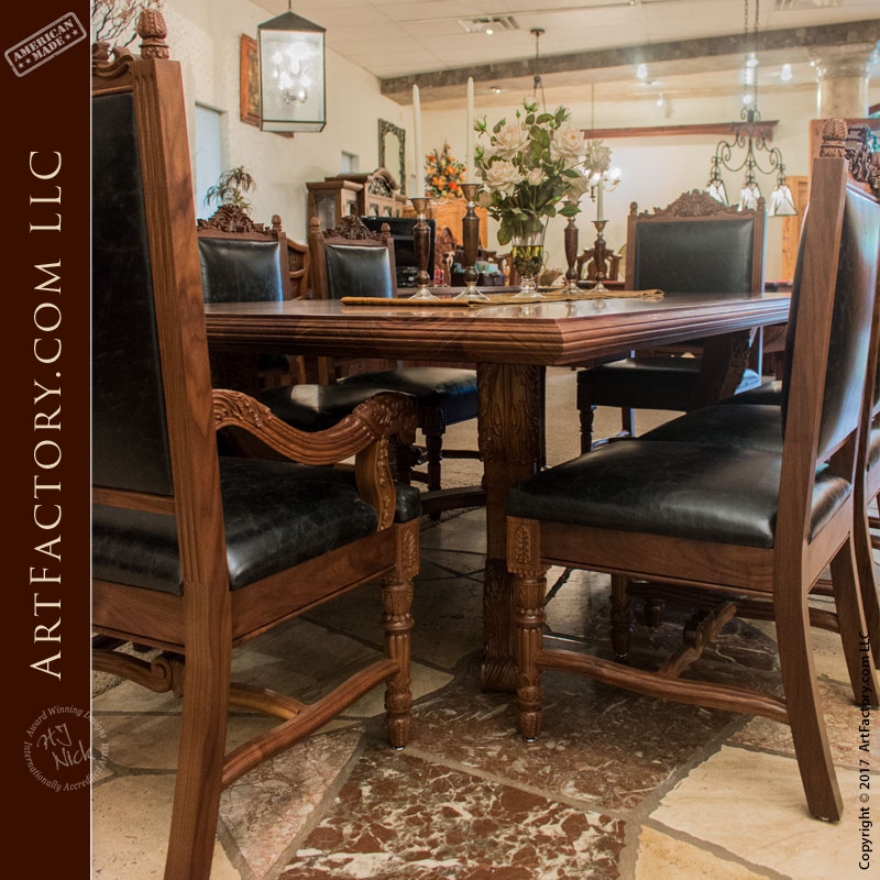 Fine Dining Furniture: Hand Carved Dining Table: Fine Art Solid Wood Dining Furniture