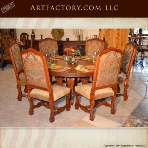 hand carved cherry round dining table with hand carved cherry dining chairs