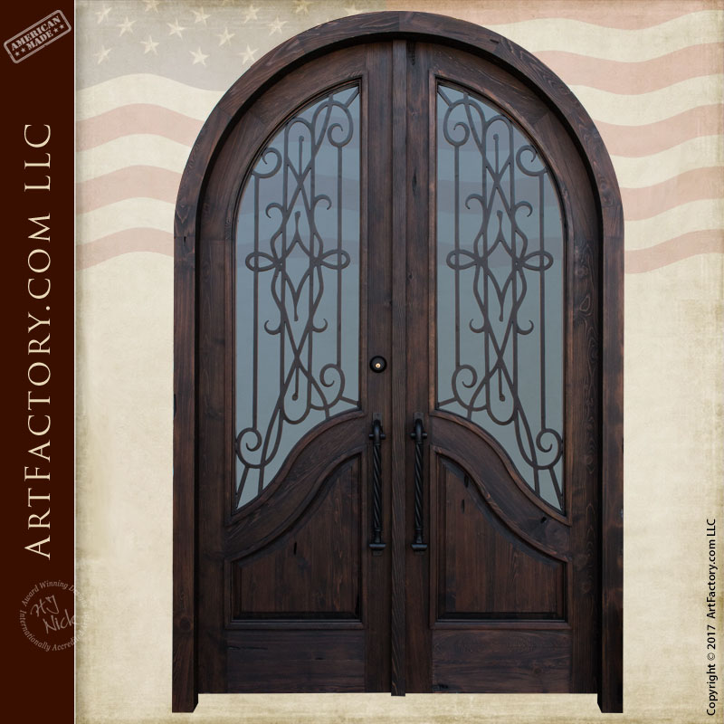 Arched Entry Door With Hand Forged Iron Security U2013 ADG456